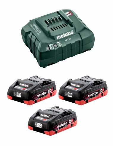 Power Set METABO (3 x 18V 4,0 Ah LiHD + ASC55)