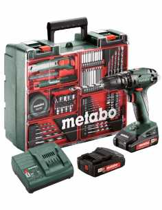 Hammer Drill METABO SB 18 Set (2 x 2,0 Ah + SC30 + Carrying Case) + Accessories Set