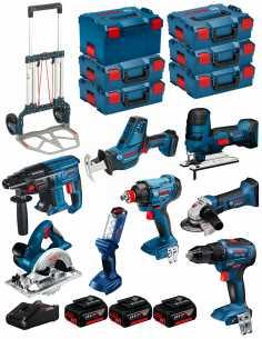 BOSCH Kit 18V BK802 (GST18V-LIS+GKS18V-LI+GBH18V-21+GWS18-125V-LI+GSR18V-55+GSA18V-LIC+GDX18V-180+GLI18V-300+3x5,0Ah+GAL18V-40)