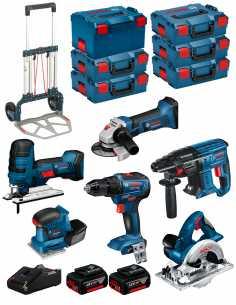 BOSCH Kit 18V BK602 (GST 18V-LIS+GKS 18V-LI+GSS 18V-10+GSR 18V-55+GBH 18V-21+GWS 18-125V-LI+ 2x5,0Ah+GAL18V-40+6xL-Boxx+Caddy)