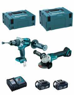 MAKITA Kit DLX2130TJ2 (DGA504 + DHP481 + 2 x 5,0 Ah + DC18RC + MAKPAC 2 + MAKPAC 3)