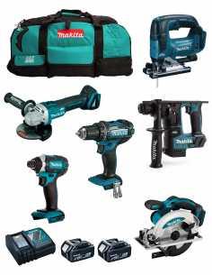 MAKITA Kit MK601 (DDF482 + DHR171 + DGA504 + DTD152 + DJV182 + DSS610 + 2 x 5,0 Ah + DC18RC + 2 x LXT600)