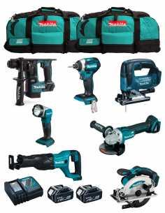 MAKITA Kit MK703 (DHR171 + DGA504 + DTD154 + DJR186 + DJV182 + DSS610 + DML802 + 2 x 5,0 Ah + DC18RC + 2 x LXT600)
