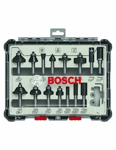 Set of 15 Mixed Router bits BOSCH (2 607 017 472)