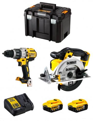 DeWALT Kit DWK214 (DCD996 + DCS391 + 2 x 5,0 Ah + DCB115 +