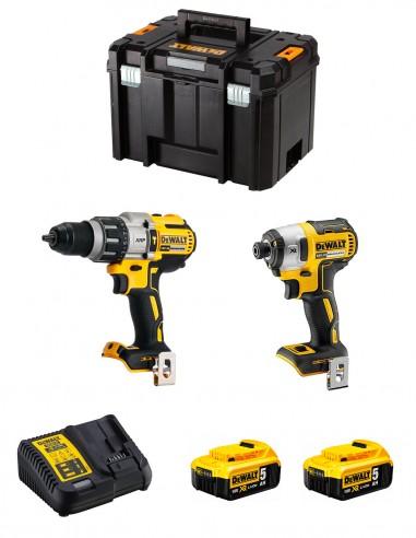 DeWALT Kit DWK224 (DCD996 + DCF887 + 2 x 5,0 Ah + DCB115 +