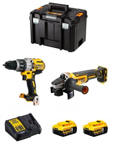 DeWALT Kit DWK221 (DCD996 + DCG405 + 2 x 5,0 Ah + DCB115 +
