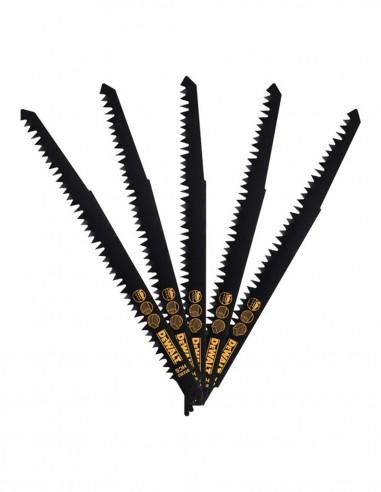 Set of 5 HCS wood cutting blades for reciprocating saw DeWALT