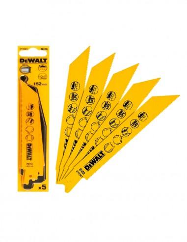 Jeu de 5 Lames de coupe métal Cobalt pour scie sabre DeWALT