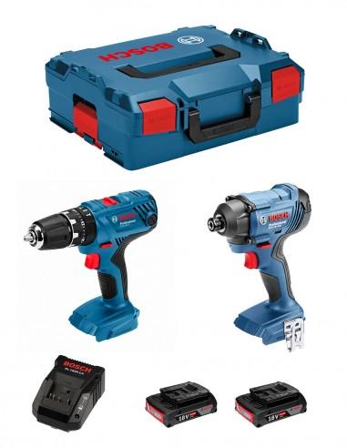 BOSCH Kit GSB 18V-21 + GDR 18V-160 (2 x 2,0 Ah + AL1820CV +