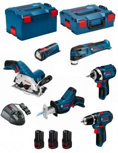 BOSCH Kit 12V BMK6-28AD3 (GSR 12V-15+GDR 12V-105+GKS 12V-26+GOP 12V-28+GSA 12V-14+GLI 12V-80+3 x 2,0 Ah+GAL1230CV )