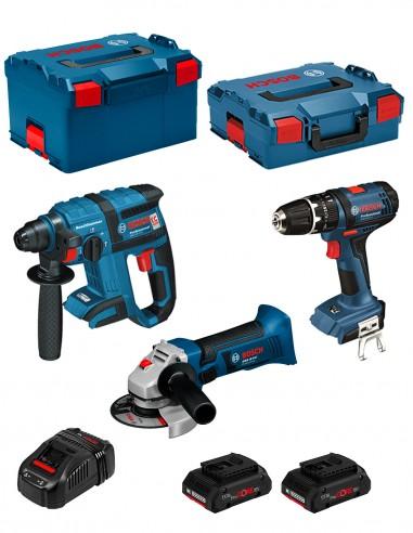 BOSCH Kit PSL3M3P (GBH 18 V-EC + GSB 18-2-LI + GWS 18 V-LI + 2