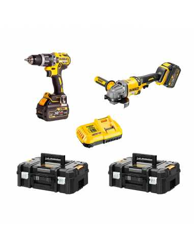 DEWALT Kit FVK256T2-QW 54V / 18V (DCD796 + DCG414 + 2 x 6,0 Ah + DCB132 + 2 x TSTAK II)